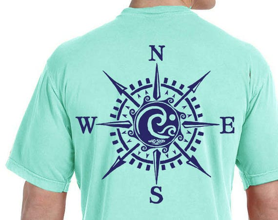 Compass Rose Waves on MADE In USA T-Shirt - Hand Screen Printed - Mint Julep - 100% Pima Ring Spun Cotton Fishing Surfing Boating Beach