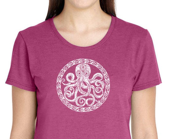 Octopus Design on Ladies Triblend Short Sleeve - Assorted Colors Available - Soft Triblend Shirt - Gift for her - Sun - Solar