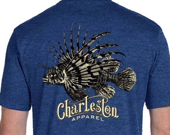 Lionfish Etching Design Fishing Shirt Fathers Day Gift for Angler Lucky Fishing Shirt Charleston Apparel Lion Fish for him or her