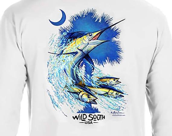 Blue Marlin Shirt - Long Sleeve  - Palmetto Marlin Design - Hand Screen Printed - Blue Marlin Palm and Moon Shirt - gift for fisherman