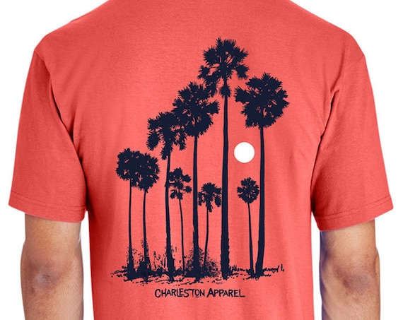 Tall Palmettos Design - Hand Screen Printed - Unisex Coral Silk T-Shirt - 100% Ring Spun 6 oz. Cotton - Soft Shirt - Palm Trees - Sun
