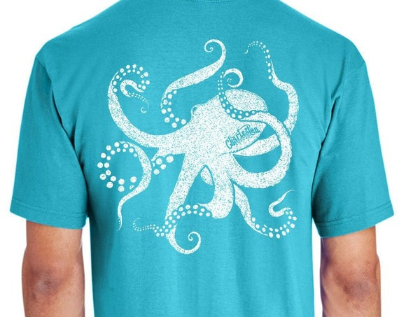 Cool Octopus - Hand Screen Printed - Unisex Lagoon Blue T-Shirt - 100% Ring Spun 6 oz. Cotton - Soft Shirt - Mollusk - Fishing