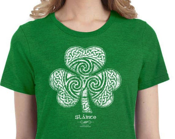 St. Patrick's Day Shirt, Sláinte Celtic Clover Shirt, Ladies Sizes, Heather Green Shirt - Irish Shamrock Shirt - gift for her