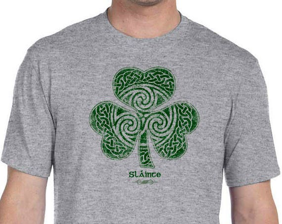 St. Patrick's Day Shirt - Sláinte Celtic Clover Shirt - Heather Gray Shirt - Celtic - Shamrock - Clover - St. Patty's - Parade