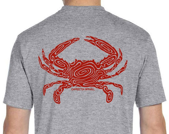 Cooked Blue Crab Design - Men's and Ladies Sizes Available - Athletic Heather T-Shirt - Crabbing  - Gift for Angler - Blue Crab