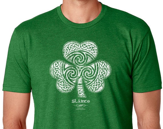 Saint Patricks Day Shirt, Celtic Clover Shirt - Men's Unisex Sizes, Heather Green Shirt, Celtic, Shamrock, Clover St Patricks