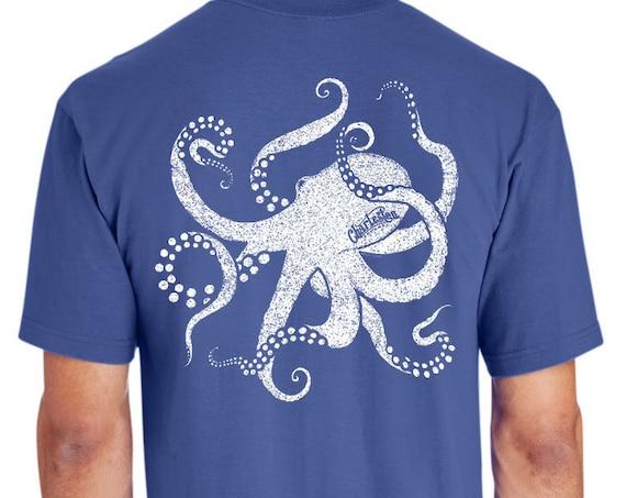 Cool Octopus - Hand Screen Printed - Unisex Flo Blue T-Shirt - 100% Ring Spun 6 oz. Cotton - Soft Shirt - Mollusk - Fishing