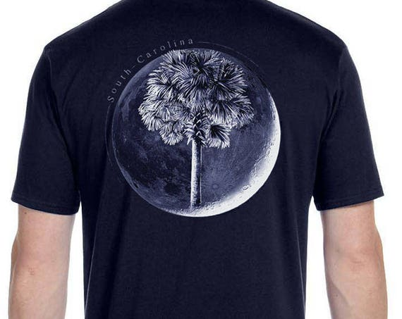 Palm In Moon Soft Short Sleeve Shirt Palmetto Moon Charleston South Carolina Shirt - Palm Tree - Christmas Gifts for friends - Palm and Moon