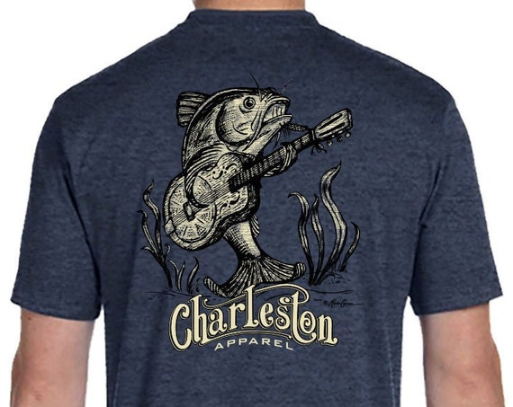 Catfish Guitar Design, Unisex Sizes Available, Denim Heather T-Shirt, Catfish Fishing Shirt, Guitar, Christmas Guitar Player Gift