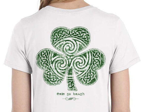 St. Patrick's Day Shirt, Celtic Clover Shirt, Ladies Sizes, White Shirt, Celtic Shamrock, Irish Christmas Gift For her