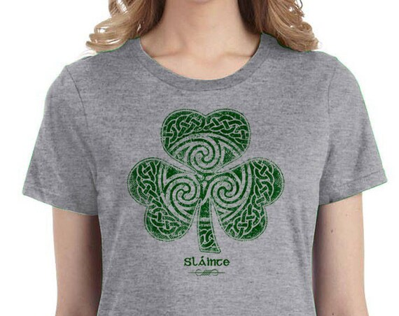 St. Patrick's Day Shirt - Sláinte Celtic Clover Shirt - Ladies Sizes - Heather Gray Shirt - Celtic - Shamrock - Clover - St. Patty's  Parade