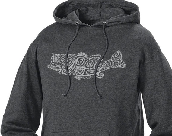 Largemouth Bass Design - Unisex Charcoal Heather Hoodie - Fathers Day Gift - Angler - Gift for Fisherman