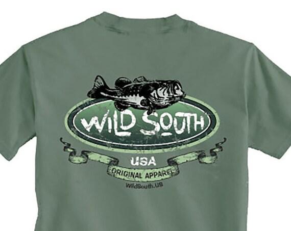 Large Mouth Bass Shirt - Hand Screen Printed on Willow Green Shirt - Fishing Shirt - Men's Shirt - South Carolina - Fish Shirt Wild South
