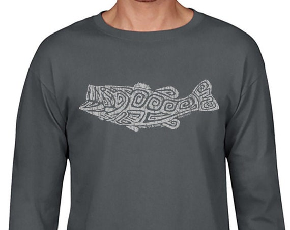 Largemouth Bass Front Design - Unisex Charcoal Long Sleeve T-Shirt - Christmas Gift - Angler - Gift for Fisherman
