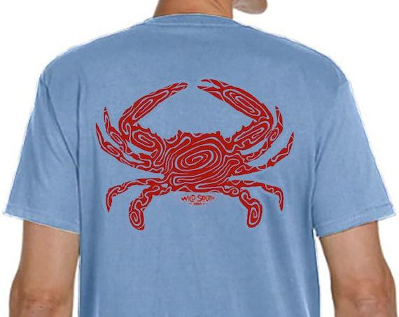 Cooked Blue Crab Design - Hand Screen Printed - Men's Sky Blue Shirt - 5.4 oz Ring Spun Cotton - Crabbing - Coastal - Gift for Dad