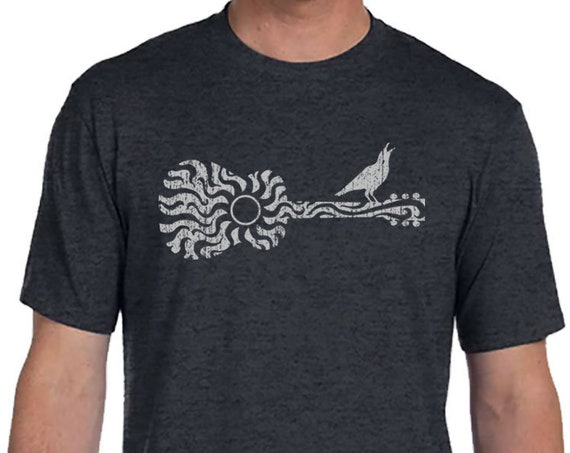 Sun Guitar with Bird - Men's and Ladies Sizes Available - Dark Heather Grey T-Shirt - Gift for Musician - Gift for Guitar Player - Christmas
