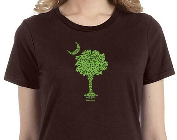 Palm and Moon Shirt - Hand Screen Printed - Ladies Chocolate Brown Ring Spun Cotton - South Carolina Girl Shirt - Christmas Gift for Mom