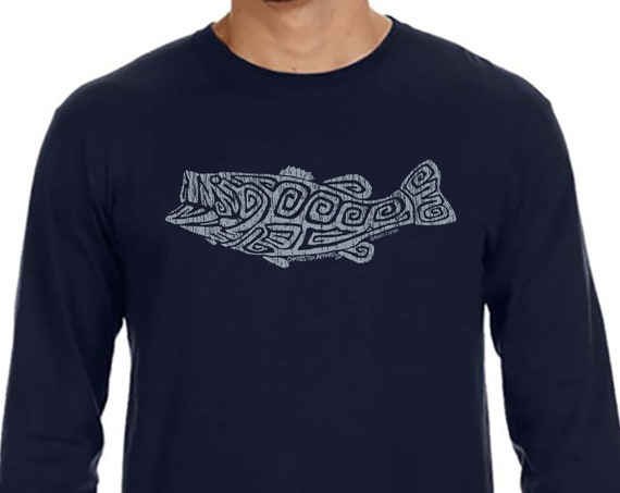 Largemouth Bass Front Design - Unisex Navy Long Sleeve T-Shirt - Christmas Gift - Angler - Gift for Fisherman
