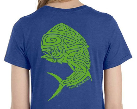Mahi Mahi Shirt Dolphin Fish, Christmas gift for her, Ladies Heather Royal Blue soft ring spun T-Shirt, Lady Angler, Gift for friends