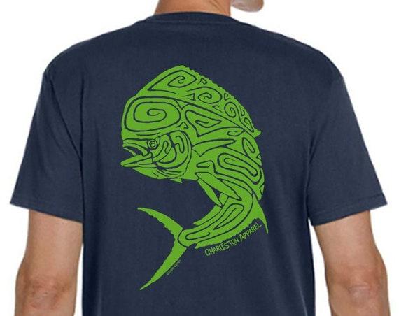 Mahi Mahi Shirt Dolphin Fish, Gift For Fisherman, Men's Pacific Navy Organic Ring Spun Cotton
