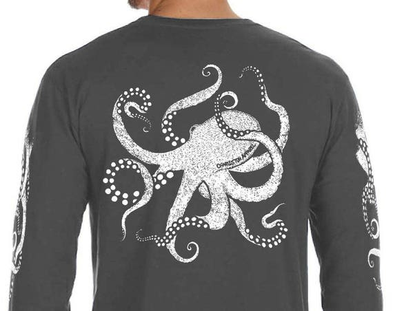 Cool Octopus T-Shirt  - Unisex Long Sleeve - Mollusk - Fishing - Aquatic - Tentacles - Christmas Gift