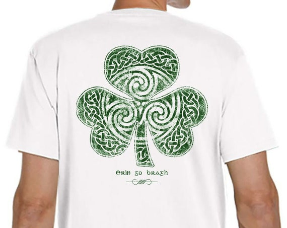 St. Patrick's Day Shirt - Ready to Ship - White Celtic Irish Clover Shirt, Irish Christmas Gift,, Shamrock Shirt
