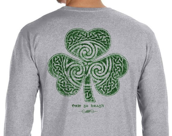 St. Partick's Day Shirt - Celtic Clover Shamrock - Long Sleeve Men's / Unisex Sizes Available - Heather Grey Shirt - Irish
