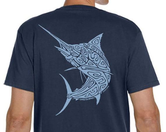 Blue Marlin Shirt, Hand Screen Printed, Men's Pacific Navy Organic T-Shirt, Fish Shirt Design, Christmas Gift For Fisherman
