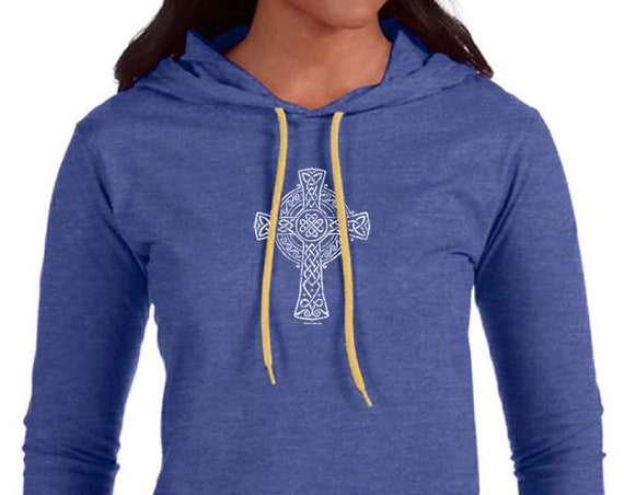 Celtic Cross Design on Ladies Long Sleeve Hooded T-Shirt Multiple Colors Soft Ring Spun Cotton Hooded Shirt - Irish Cross - Christian Gift