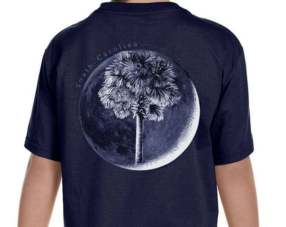 Palm In Moon Youth T-Shirt  - Youth Sizes Available - Charleston - South Carolina - SC Flag - Palm and Moon - SC Kids Shirt