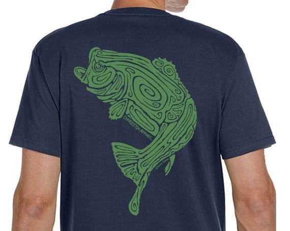Largemouth Bass Shirt, Hand Screen Printed, Men's Pacific Blue Organic Short Sleeve, Ring Spun Cotton, Fishing Christmas Gift, Fish Shirt