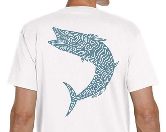 King Mackerel Wahoo Fish Shirt - Men's and Ladies White 5.4 oz Ring Spun Cotton - Fish Shirt - Gift for Dad - King Fish  - Father's Day Gift