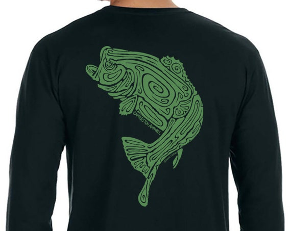 Large Mouth Bass Fish Shirt - Hand Screen Printed - Men's Black Long Sleeve T-Shirt - Angler Shirt - Christmas Gift for him