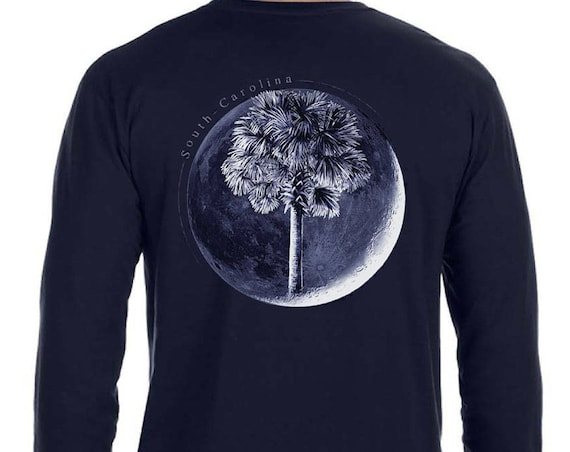 Palm In Moon T-Shirt  - Unisex Long Sleeve Sizes Available - Charleston - South Carolina - SC Flag - Palm and Moon - SC Father's Day Gift