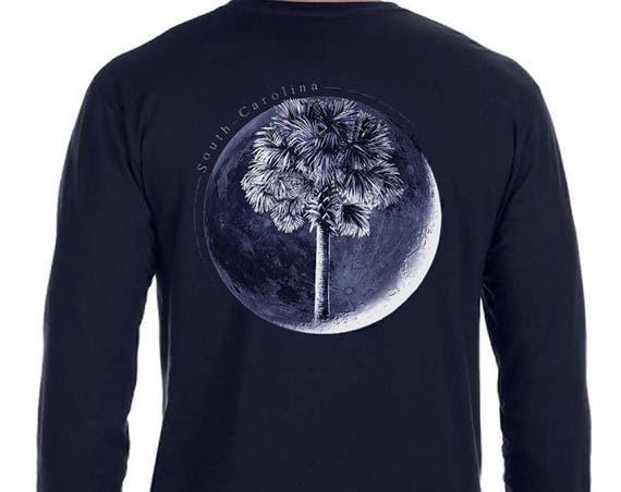 Palm In Moon Soft Long Sleeve Shirt Palmetto Moon Charleston South Carolina Shirt Palm Tree Print Palm and Moon Christmas Gifts for friends