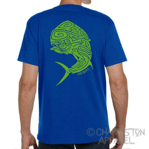 Mahi Mahi / Dolphin Fish Design - Hand Screen Printed - Men's Royal Blue T-Shirt - 5.4 oz Ring Spun Cotton