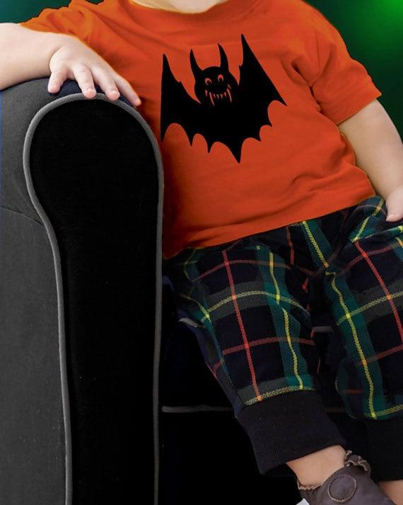 Halloween Bat - Baby / Toddler Shirt with Black Bat - Super Soft Orange Shirt with Black Bat - Great for Halloween - Toddler Halloween