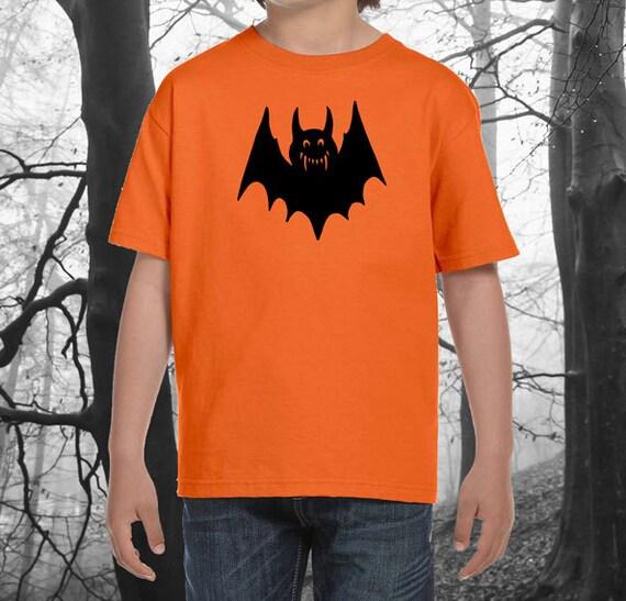 Halloween Bat Kids Shirt with Black Bat - Super Soft Orange T-Shirt with Black Bat - Great for Kids Halloween -  Kids / Youth Halloween