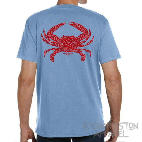 Cooked Blue Crab Design - Hand Screen Printed - Men's Sky Blue Shirt - 5.4 oz Ring Spun Cotton - Crabbing - Coastal - Gift for Dad
