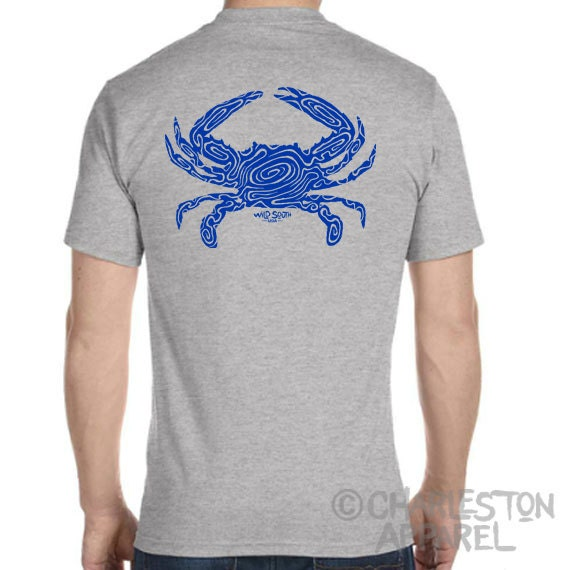 UnCooked Blue Crab Design - Men's and Ladies Sizes Available - Athletic Heather T-Shirt - Crabbing  - Gift for Angler - Blue Crab