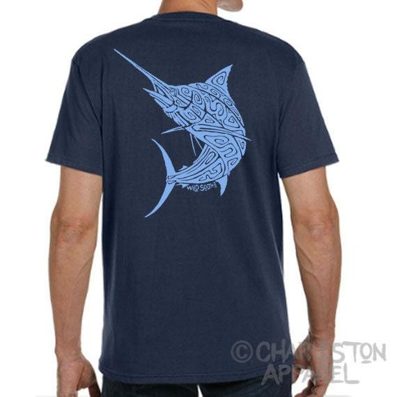 Marlin Billfish Shirt - Hand Screen Printed - Men's Pacific Navy Organic T-Shirt - 100% Organic Ring Spun Cotton - Fishing Father's Day Gift