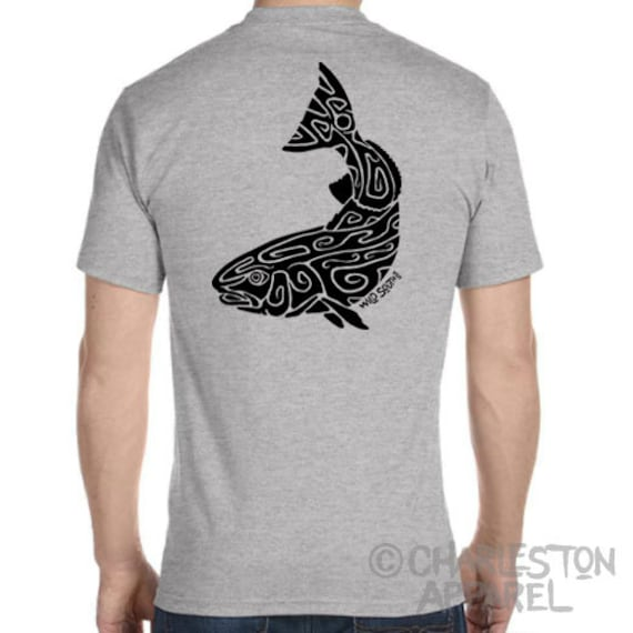 Red Drum, Spot Tail Bass Design Hand Screen Printed Men's and Ladies Athletic Heather T-Shirt, Christmas Fishing Gift for Fisherman, Redfish