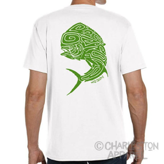Mahi Mahi Dolphin Fish Design - Hand Screen Printed - Men's White 5.4 oz Ring Spun Cotton - Fish Shirt - Fishing Shirt - Gift for Fisherman