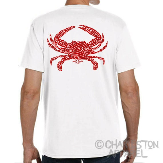 Cooked Blue Crab Shirt Design - Hand Screen Printed Men's and Ladies Sizes Available - Crabbing Christmas Gift for Dad  Lucky Fishing Shirt