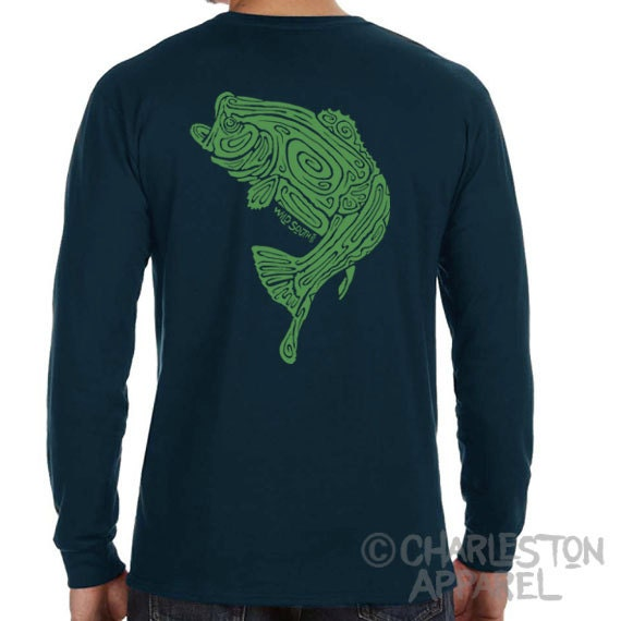 Large Mouth Bass Fish Shirt - Hand Screen Printed - Men's Pacific Blue Organic Long Sleeve T-Shirt - 5.5 oz 100% Ring Spun Cotton - Fishing