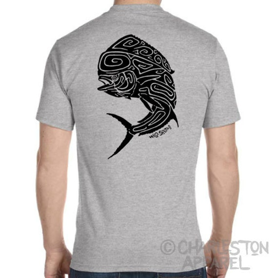 Fish Shirt - Mahi Mahi / Dolphin Fish Design - Men's and Ladies Sizes - Athletic Heather Grey T-Shirt - Mother's Day - Father's Day Gift