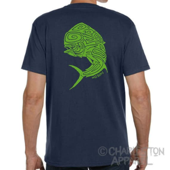 Mahi Mahi Dolphin Fish Shirt - Hand Screen Printed - Men's Pacific Navy Organic T-Shirt - 100% Organic Ring Spun Cotton Fishing Fathers Day