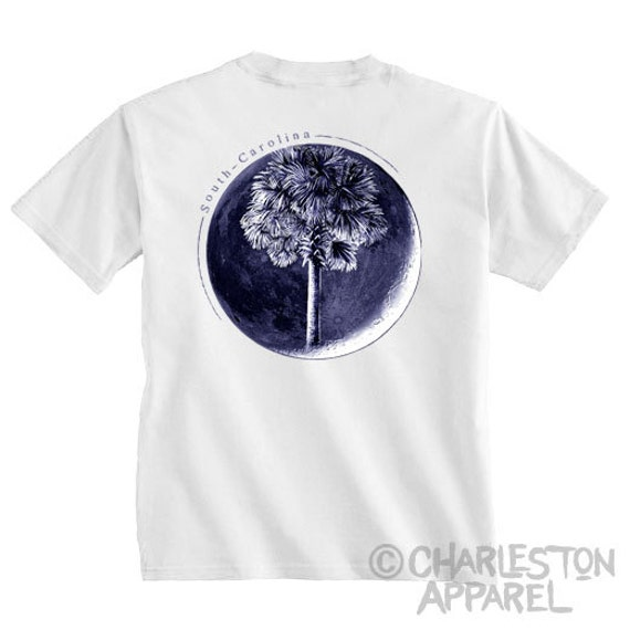 Palm In Moon, Men's and Ladies Sizes Available, Charleston, SC Flag T-shirt, Palm Moon Shirt, South Carolina Christmas Gift