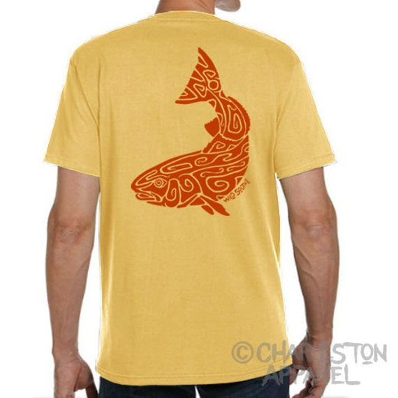 Red Drum / Spot Tail Bass Design - Hand Screen Printed - Men's Banana Yellow T-Shirt - 5.4 oz Ring Spun Cotton - Gift for Fisherman