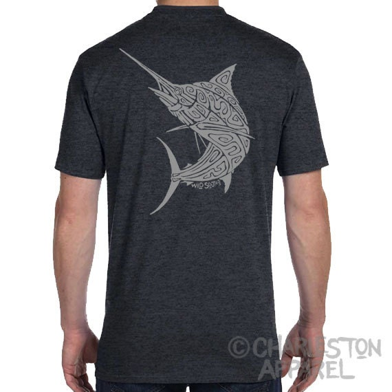 Marlin Billfish Design - Men's and Ladies Sizes Available - Dark Heather Grey T-Shirt - Fathers Day Gift - Angler - Gift for Fisherman